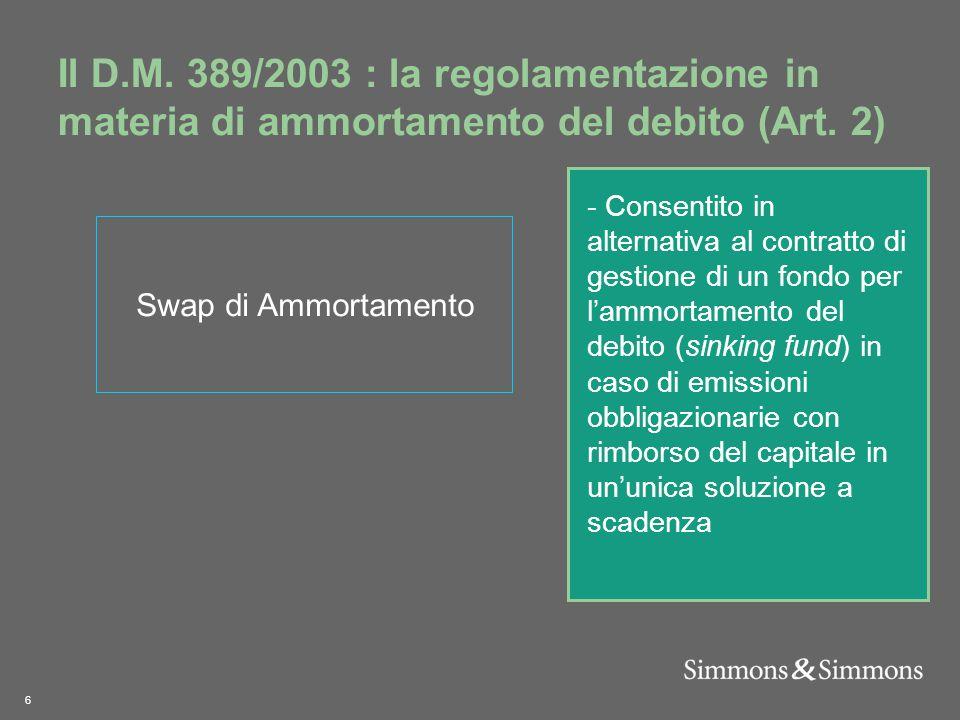 6 Il D.M. 389/2003 : la regolamentazione in materia di ammortamento del debito (Art.