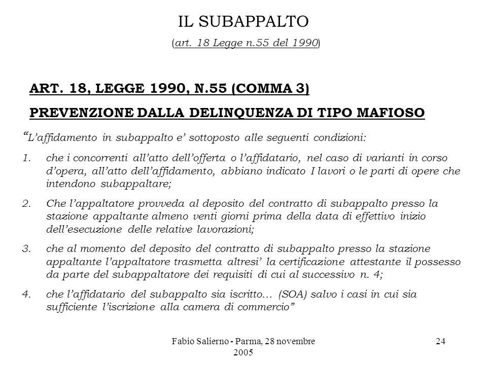 Fabio Salierno - Parma, 28 novembre 2005 24 IL SUBAPPALTO ( art.