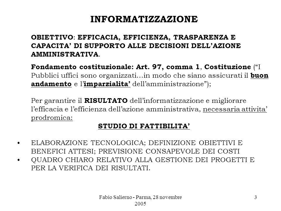 Fabio Salierno - Parma, 28 novembre 2005 3 INFORMATIZZAZIONE OBIETTIVO : EFFICACIA, EFFICIENZA, TRASPARENZA E CAPACITA' DI SUPPORTO ALLE DECISIONI DELL'AZIONE AMMINISTRATIVA.