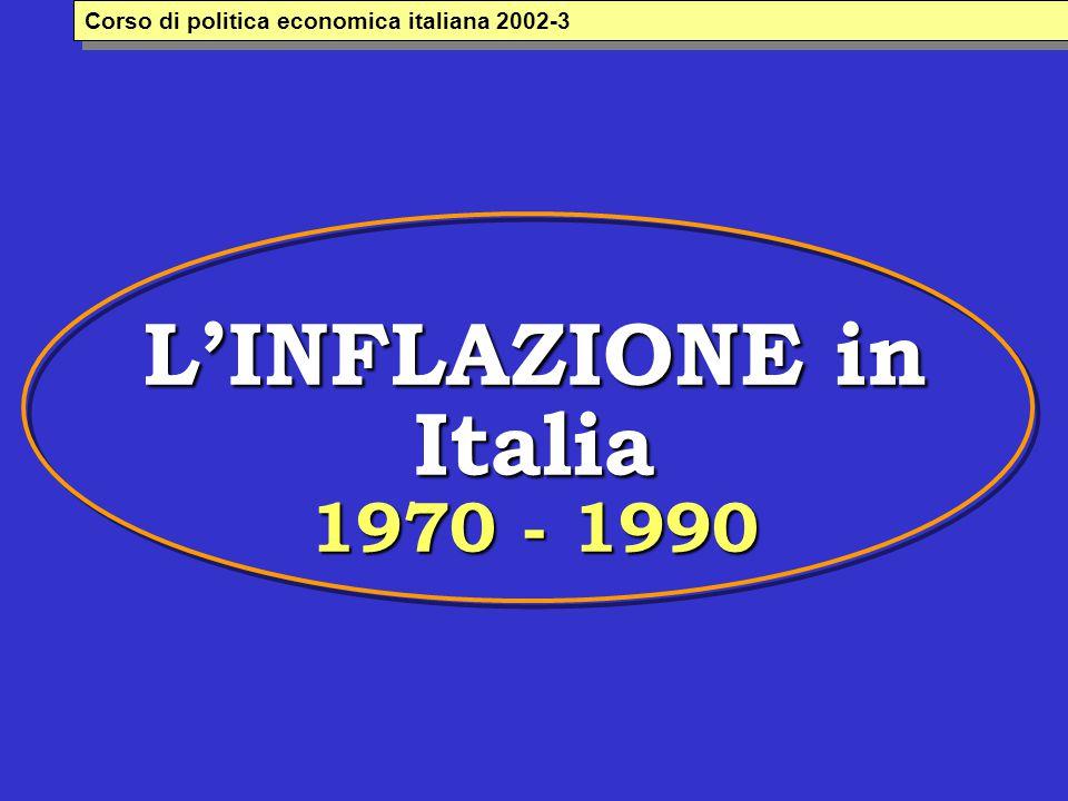 L'INFLAZIONE in Italia 1970 - 1990 Corso di politica economica italiana 2002-3