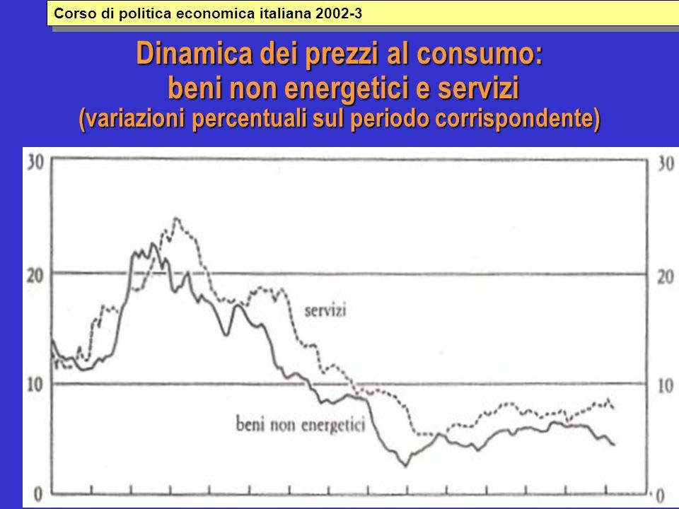 Dinamica dei prezzi al consumo: beni non energetici e servizi (variazioni percentuali sul periodo corrispondente) Corso di politica economica italiana 2002-3