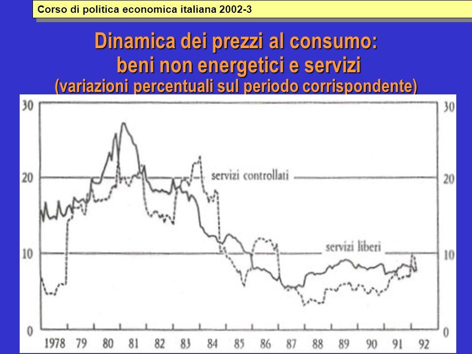 Dinamica dei prezzi al consumo: beni non energetici e servizi (variazioni percentuali sul periodo corrispondente) Corso di politica economica italiana