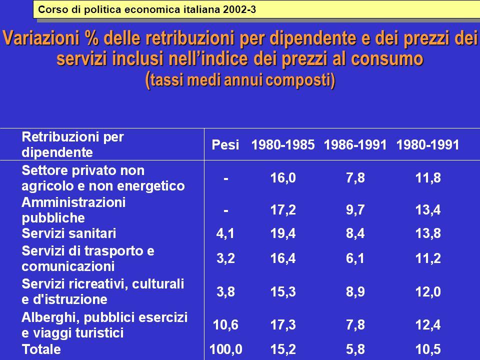 Variazioni % delle retribuzioni per dipendente e dei prezzi dei servizi inclusi nell'indice dei prezzi al consumo ( tassi medi annui composti) Corso di politica economica italiana 2002-3