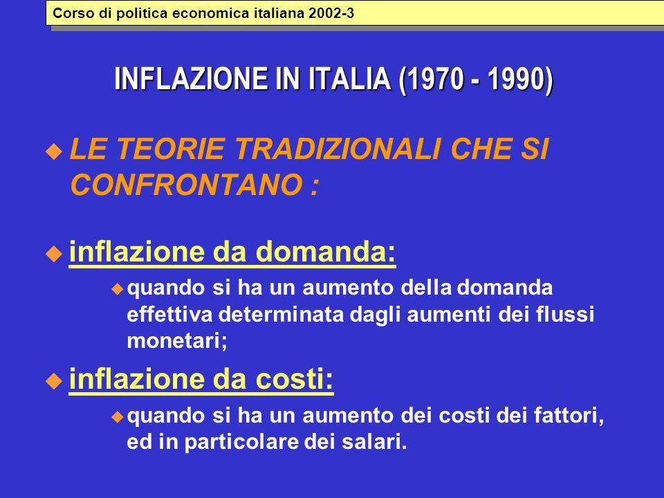 INFLAZIONE IN ITALIA (1970 - 1990)  LE TEORIE TRADIZIONALI CHE SI CONFRONTANO :  inflazione da domanda:  quando si ha un aumento della domanda effe