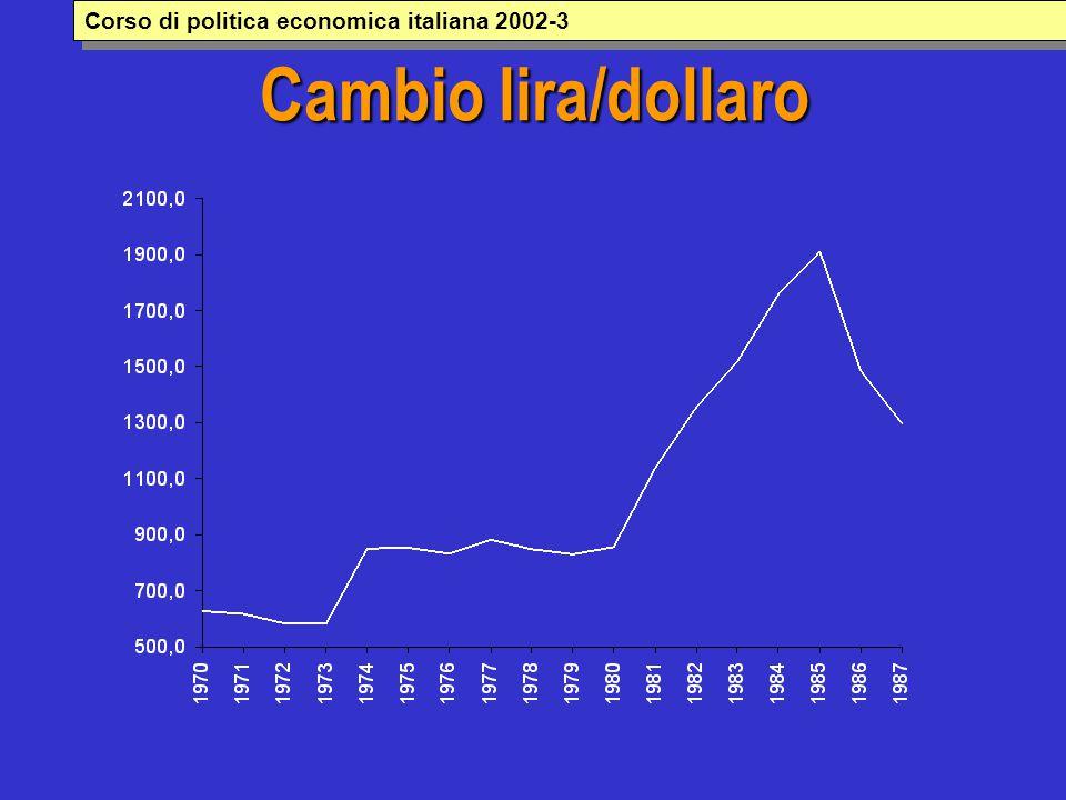 Cambio lira/dollaro Corso di politica economica italiana 2002-3