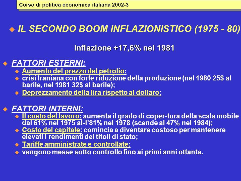  IL SECONDO BOOM INFLAZIONISTICO (1975 - 80) Inflazione +17,6% nel 1981  FATTORI ESTERNI: u Aumento del prezzo del petrolio: u crisi Iraniana con forte riduzione della produzione (nel 1980 25$ al barile, nel 1981 32$ al barile); u Deprezzamento della lira rispetto al dollaro;  FATTORI INTERNI: u Il costo del lavoro: aumenta il grado di coper-tura della scala mobile dal 61% nel 1975 al-l'81% nel 1978 (scende al 47% nel 1984); u Costo del capitale: comincia a diventare costoso per mantenere elevati i rendimenti dei titoli di stato; u Tariffe amministrate e controllate: u vengono messe sotto controllo fino ai primi anni ottanta.