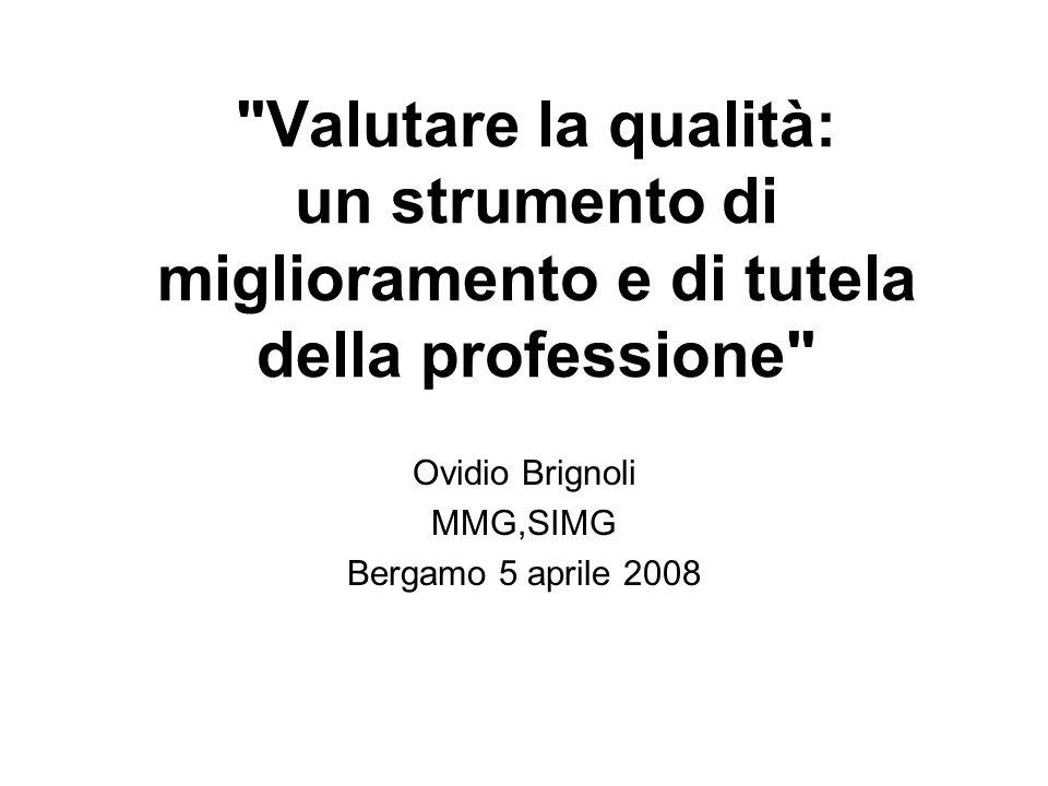Valutare la qualità: un strumento di miglioramento e di tutela della professione Ovidio Brignoli MMG,SIMG Bergamo 5 aprile 2008