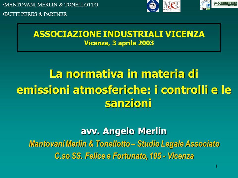 MANTOVANI MERLIN & TONELLOTTO BUTTI PERES & PARTNER 1 ASSOCIAZIONE INDUSTRIALI VICENZA Vicenza, 3 aprile 2003 La normativa in materia di emissioni atmosferiche: i controlli e le sanzioni avv.