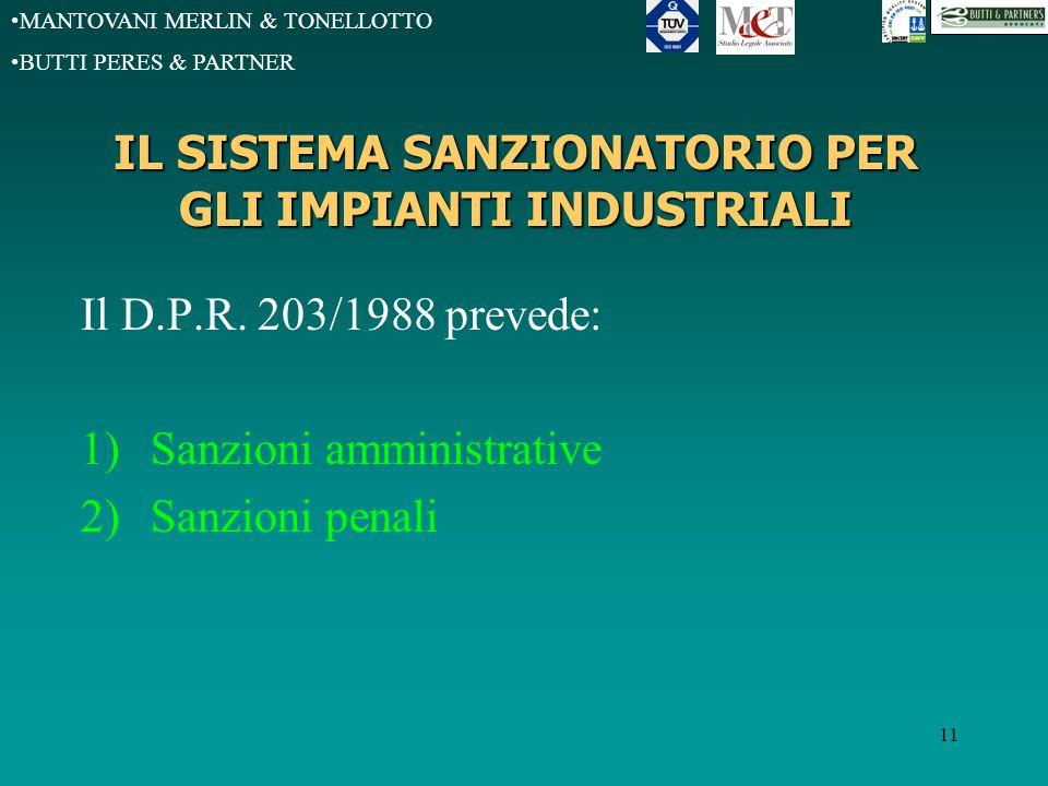 MANTOVANI MERLIN & TONELLOTTO BUTTI PERES & PARTNER 11 IL SISTEMA SANZIONATORIO PER GLI IMPIANTI INDUSTRIALI Il D.P.R.