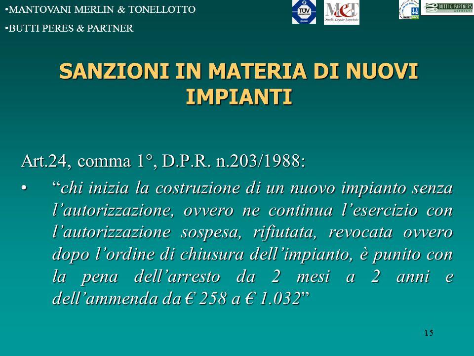 MANTOVANI MERLIN & TONELLOTTO BUTTI PERES & PARTNER 15 SANZIONI IN MATERIA DI NUOVI IMPIANTI Art.24, comma 1°, D.P.R.
