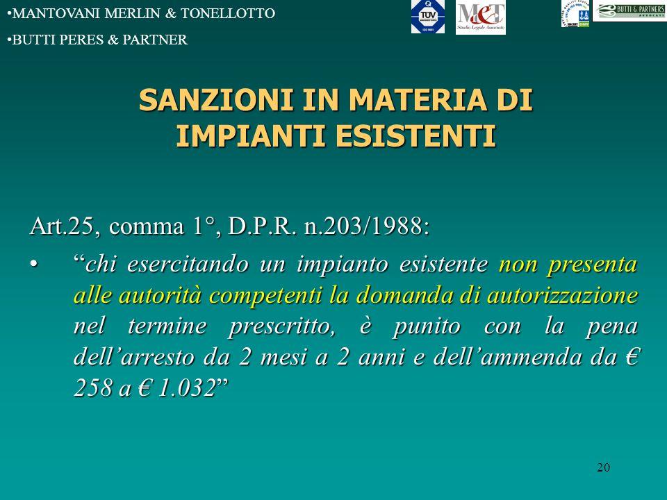 MANTOVANI MERLIN & TONELLOTTO BUTTI PERES & PARTNER 20 SANZIONI IN MATERIA DI IMPIANTI ESISTENTI Art.25, comma 1°, D.P.R.