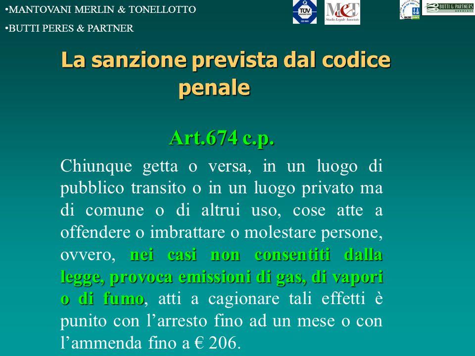 MANTOVANI MERLIN & TONELLOTTO BUTTI PERES & PARTNER La sanzione prevista dal codice penale Art.674 c.p.