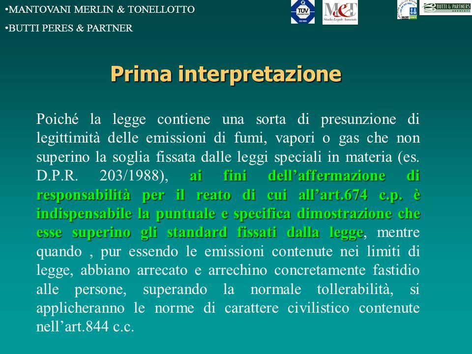 MANTOVANI MERLIN & TONELLOTTO BUTTI PERES & PARTNER Prima interpretazione ai fini dell'affermazione di responsabilità per il reato di cui all'art.674 c.p.