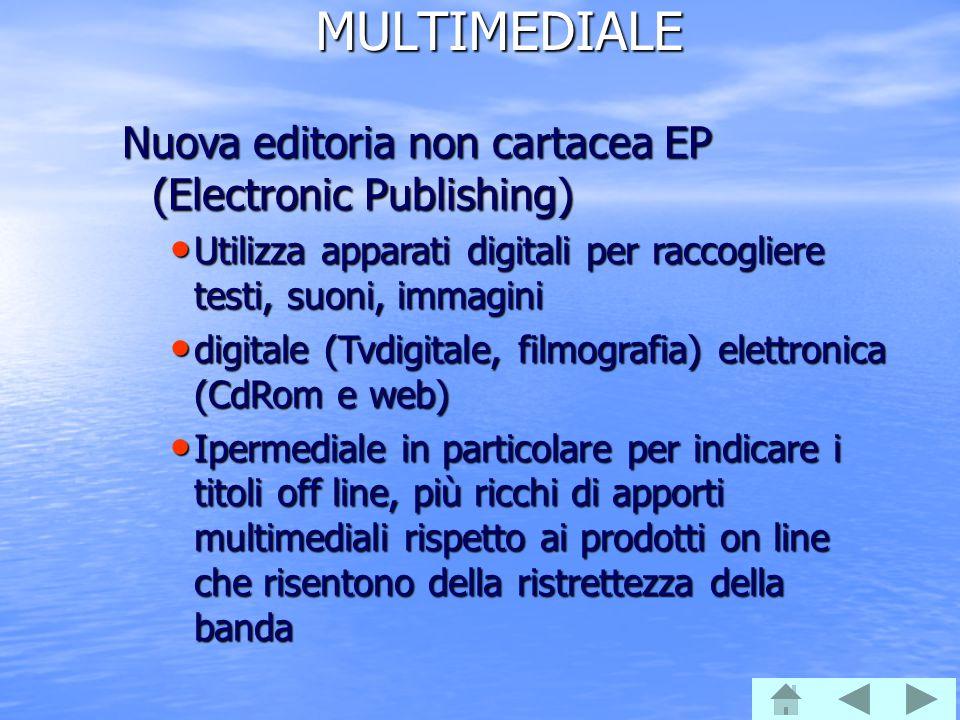 MULTIMEDIALE Nuova editoria non cartacea EP (Electronic Publishing) Utilizza apparati digitali per raccogliere testi, suoni, immagini Utilizza apparat