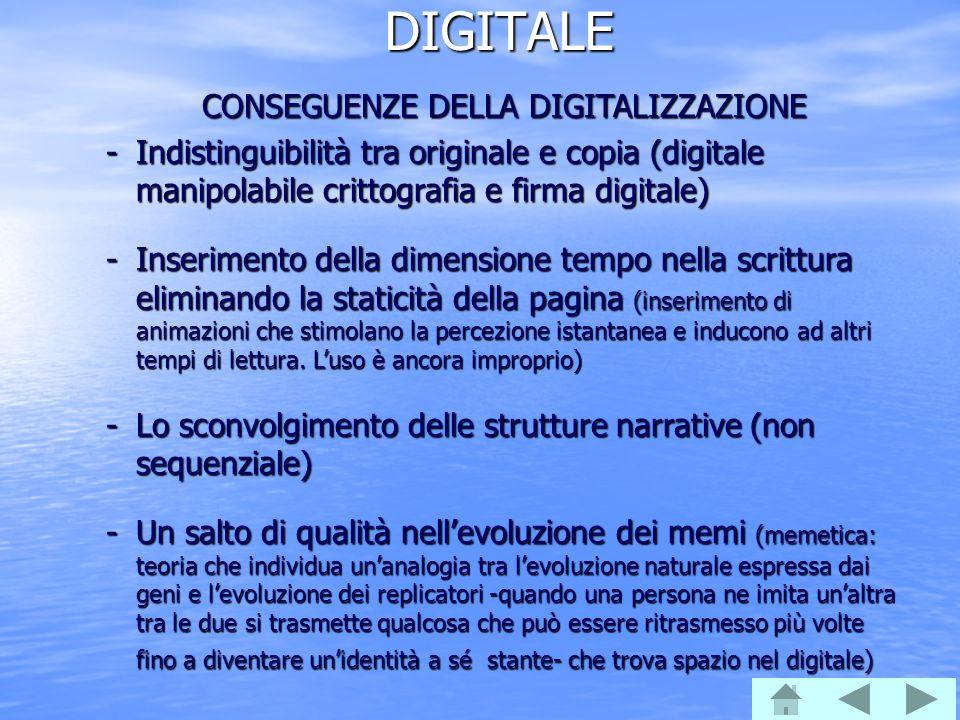 DIGITALE CONSEGUENZE DELLA DIGITALIZZAZIONE -Indistinguibilità tra originale e copia (digitale manipolabile crittografia e firma digitale) -Inseriment