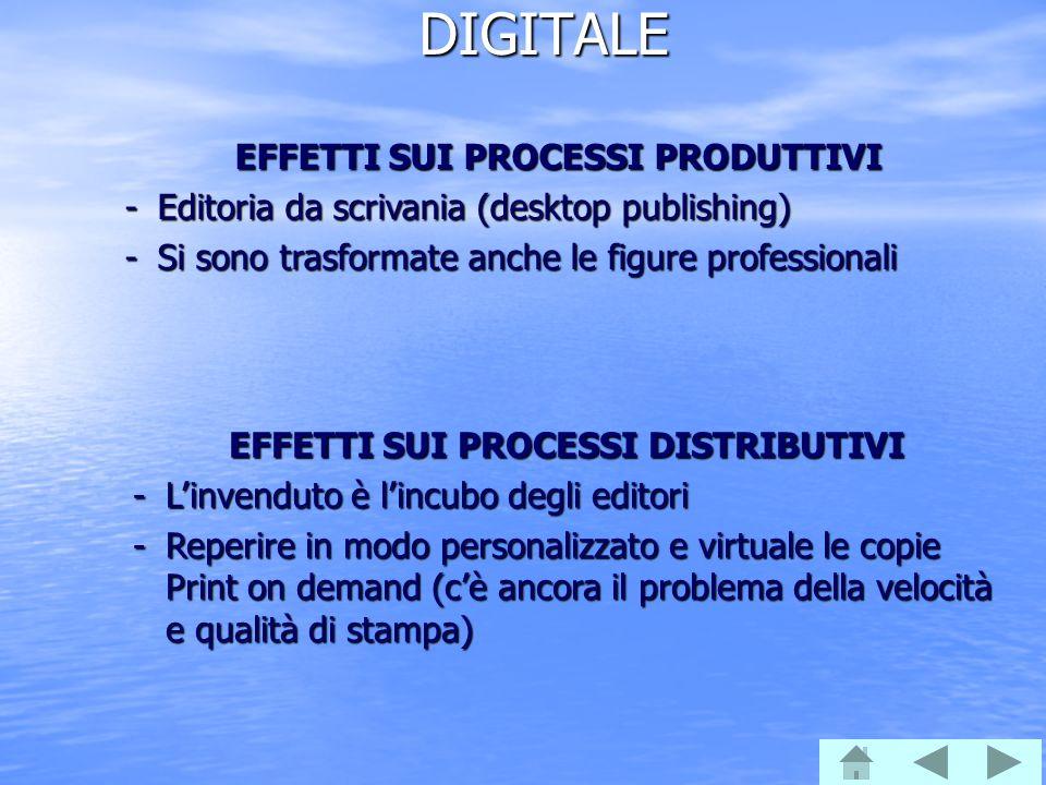DIGITALE EFFETTI SUI PROCESSI PRODUTTIVI -Editoria da scrivania (desktop publishing) -Si sono trasformate anche le figure professionali EFFETTI SUI PR
