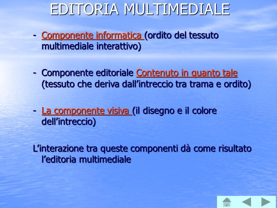 EDITORIA MULTIMEDIALE -Componente informatica (ordito del tessuto multimediale interattivo) Componente informatica Componente informatica -Componente