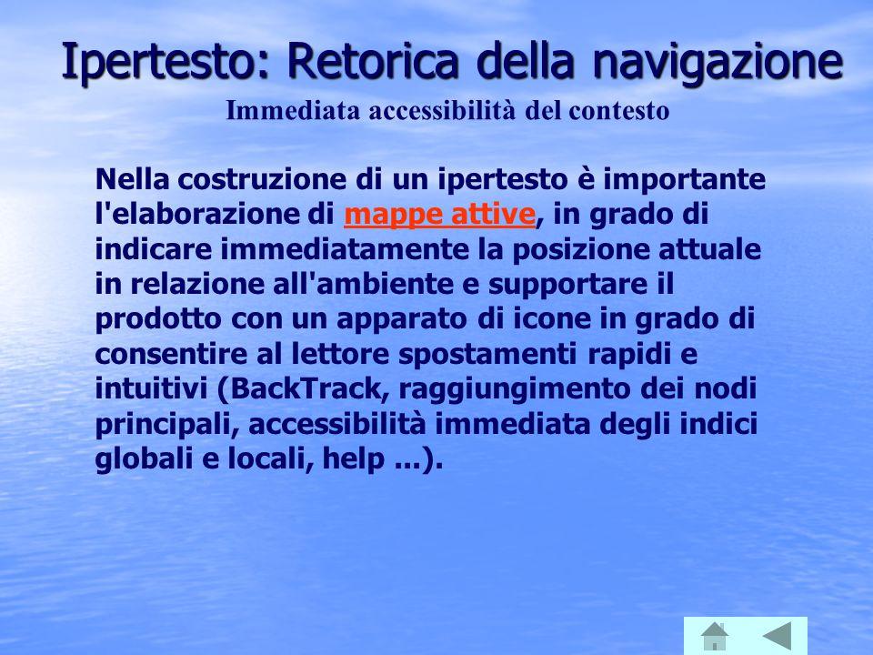 Ipertesto: Retorica della navigazione Immediata accessibilità del contesto Nella costruzione di un ipertesto è importante l'elaborazione di mappe atti