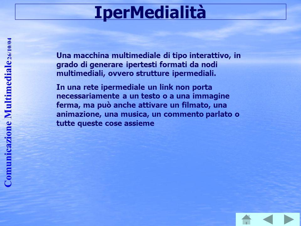 Comunicazione Multimediale 26/10/04 IperMedialità Una macchina multimediale di tipo interattivo, in grado di generare ipertesti formati da nodi multim