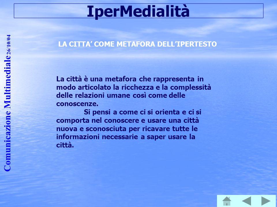 Comunicazione Multimediale 26/10/04 IperMedialità LA CITTA' COME METAFORA DELL'IPERTESTO La città è una metafora che rappresenta in modo articolato la