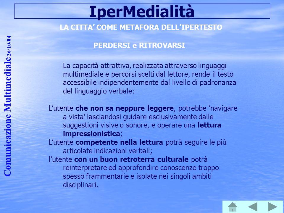 Comunicazione Multimediale 26/10/04 IperMedialità LA CITTA' COME METAFORA DELL'IPERTESTO PERDERSI e RITROVARSI La capacità attrattiva, realizzata attr