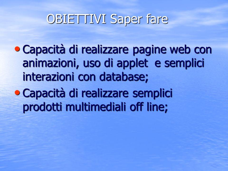 OBIETTIVI Saper fare Capacità di realizzare pagine web con animazioni, uso di applet e semplici interazioni con database; Capacità di realizzare pagin