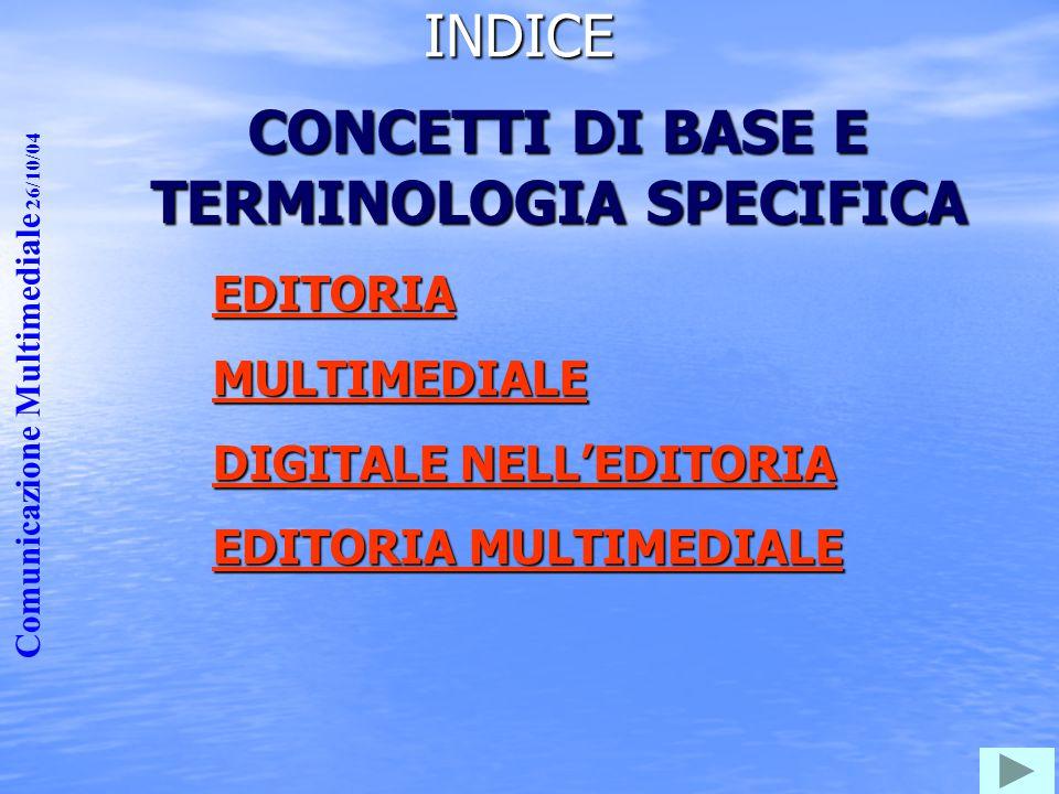 Comunicazione Multimediale 26/10/04 CONCETTI DI BASE E TERMINOLOGIA SPECIFICA EDITORIA MULTIMEDIALE DIGITALE NELL'EDITORIA DIGITALE NELL'EDITORIA EDIT