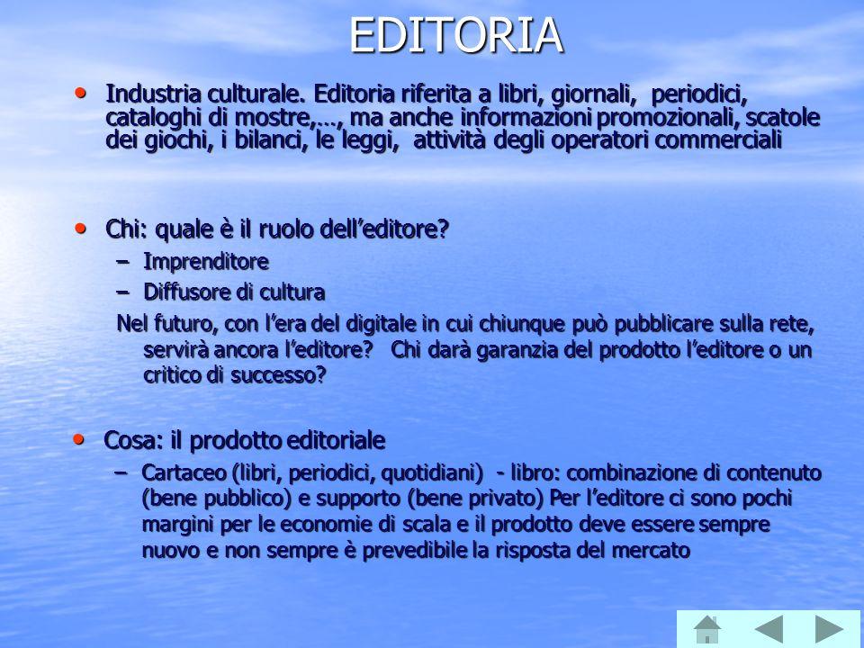 EDITORIA Industria culturale. Editoria riferita a libri, giornali, periodici, cataloghi di mostre,…, ma anche informazioni promozionali, scatole dei g