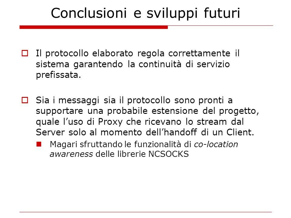 Conclusioni e sviluppi futuri  Il protocollo elaborato regola correttamente il sistema garantendo la continuità di servizio prefissata.  Sia i messa