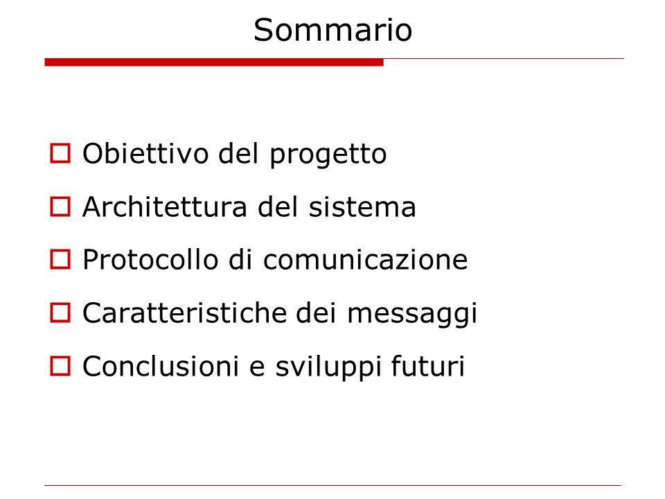 Sommario  Obiettivo del progetto  Architettura del sistema  Protocollo di comunicazione  Caratteristiche dei messaggi  Conclusioni e sviluppi futuri