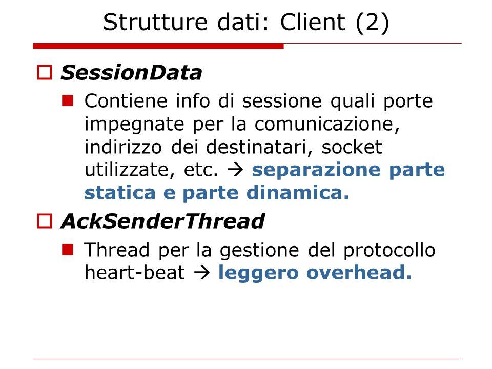Strutture dati: Client (2)  SessionData Contiene info di sessione quali porte impegnate per la comunicazione, indirizzo dei destinatari, socket utilizzate, etc.