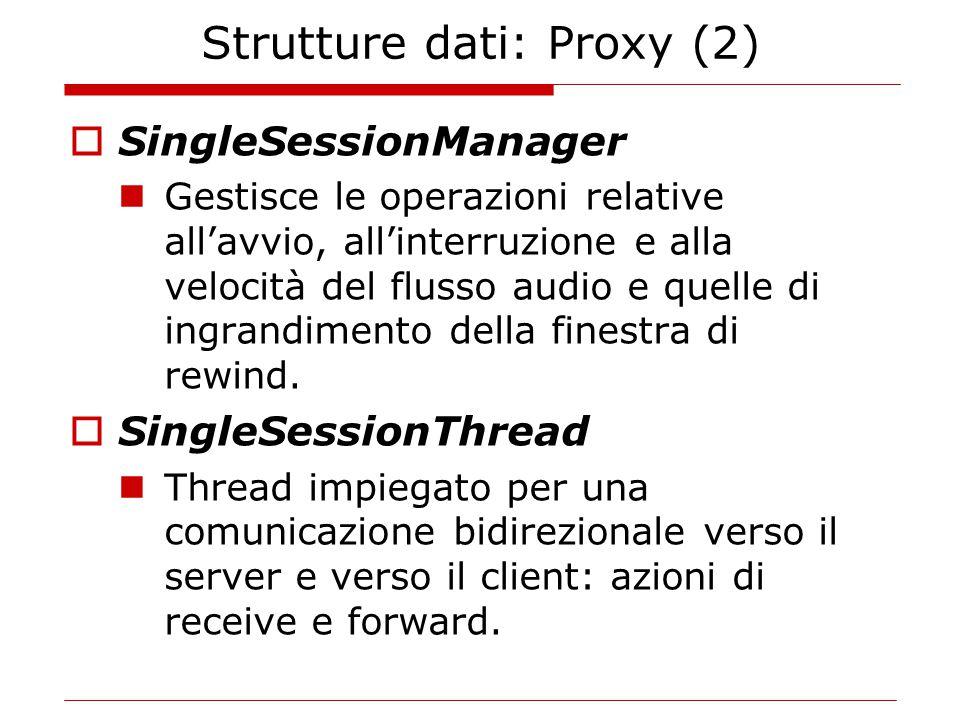 Strutture dati: Proxy (2)  SingleSessionManager Gestisce le operazioni relative all'avvio, all'interruzione e alla velocità del flusso audio e quelle di ingrandimento della finestra di rewind.