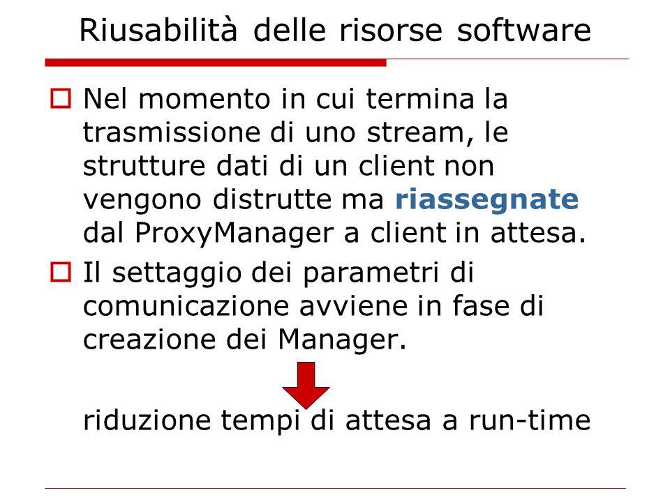 Riusabilità delle risorse software  Nel momento in cui termina la trasmissione di uno stream, le strutture dati di un client non vengono distrutte ma riassegnate dal ProxyManager a client in attesa.
