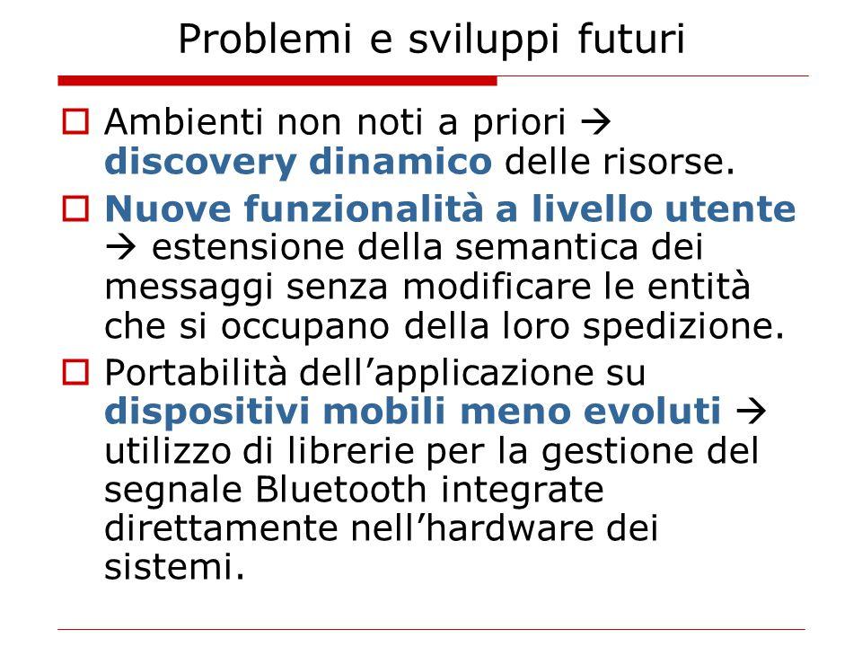Problemi e sviluppi futuri  Ambienti non noti a priori  discovery dinamico delle risorse.  Nuove funzionalità a livello utente  estensione della s