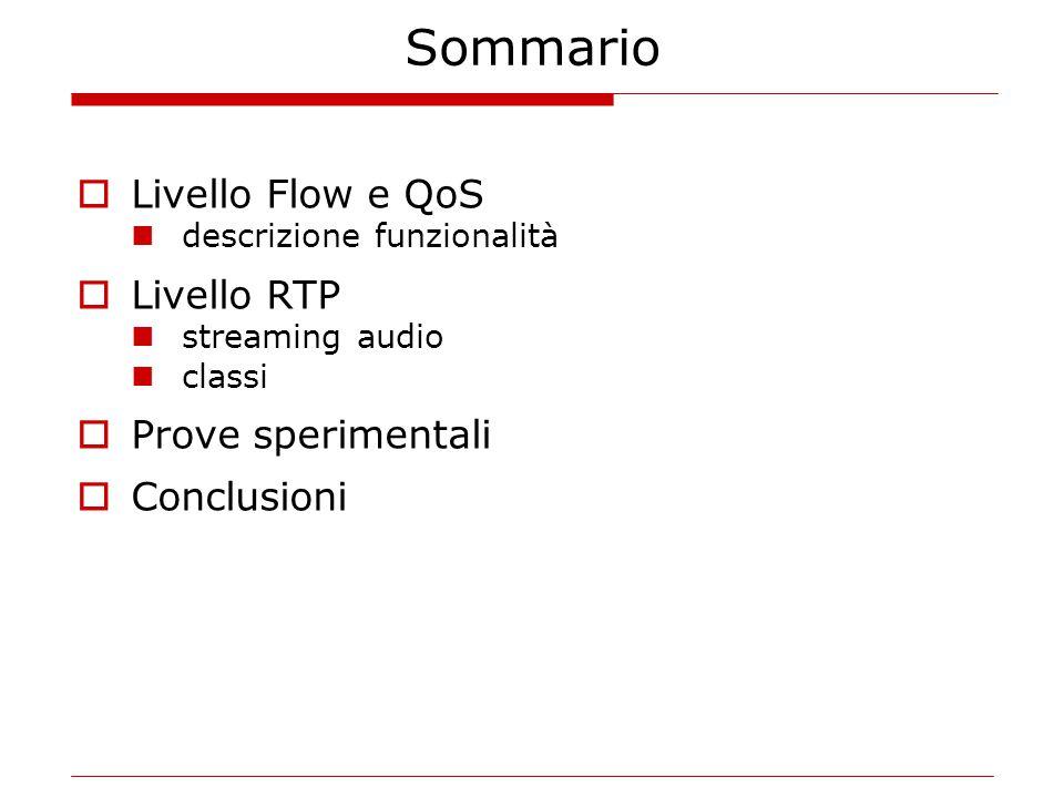 Sommario  Livello Flow e QoS descrizione funzionalità  Livello RTP streaming audio classi  Prove sperimentali  Conclusioni