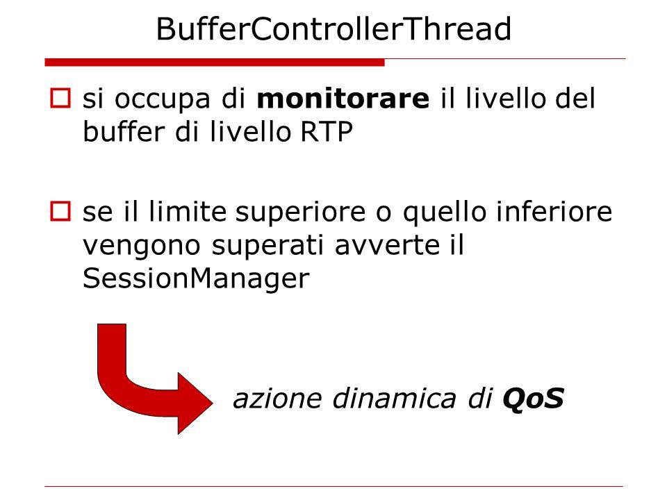BufferControllerThread  si occupa di monitorare il livello del buffer di livello RTP  se il limite superiore o quello inferiore vengono superati avverte il SessionManager azione dinamica di QoS