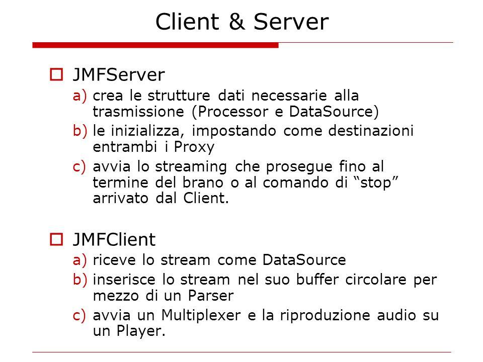 Client & Server  JMFServer a)crea le strutture dati necessarie alla trasmissione (Processor e DataSource) b)le inizializza, impostando come destinazioni entrambi i Proxy c)avvia lo streaming che prosegue fino al termine del brano o al comando di stop arrivato dal Client.