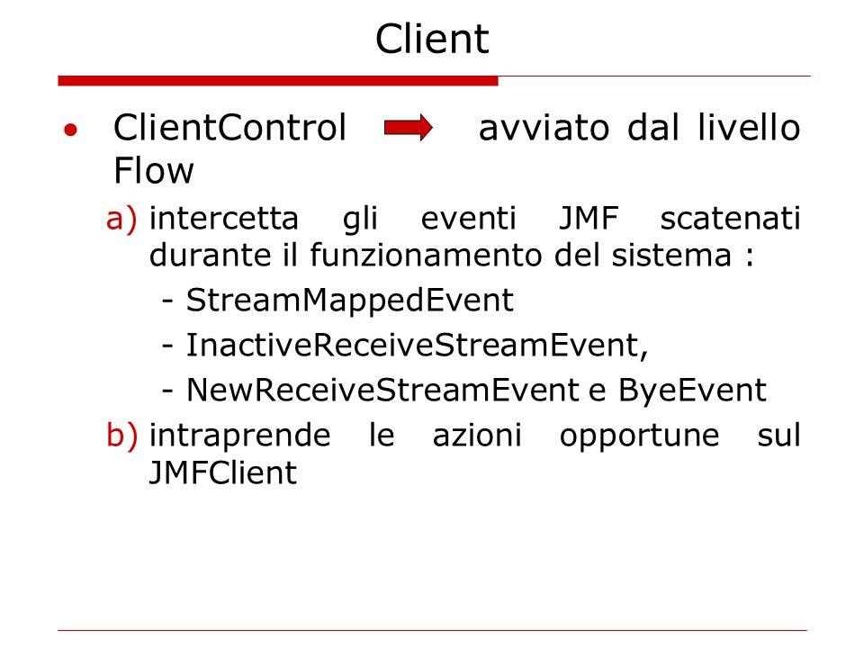 Client ClientControl avviato dal livello Flow a)intercetta gli eventi JMF scatenati durante il funzionamento del sistema : - StreamMappedEvent - InactiveReceiveStreamEvent, - NewReceiveStreamEvent e ByeEvent b)intraprende le azioni opportune sul JMFClient