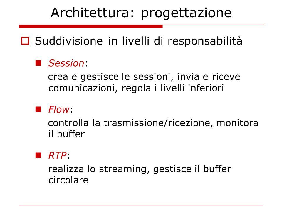 Architettura: progettazione  Suddivisione in livelli di responsabilità Session: crea e gestisce le sessioni, invia e riceve comunicazioni, regola i l