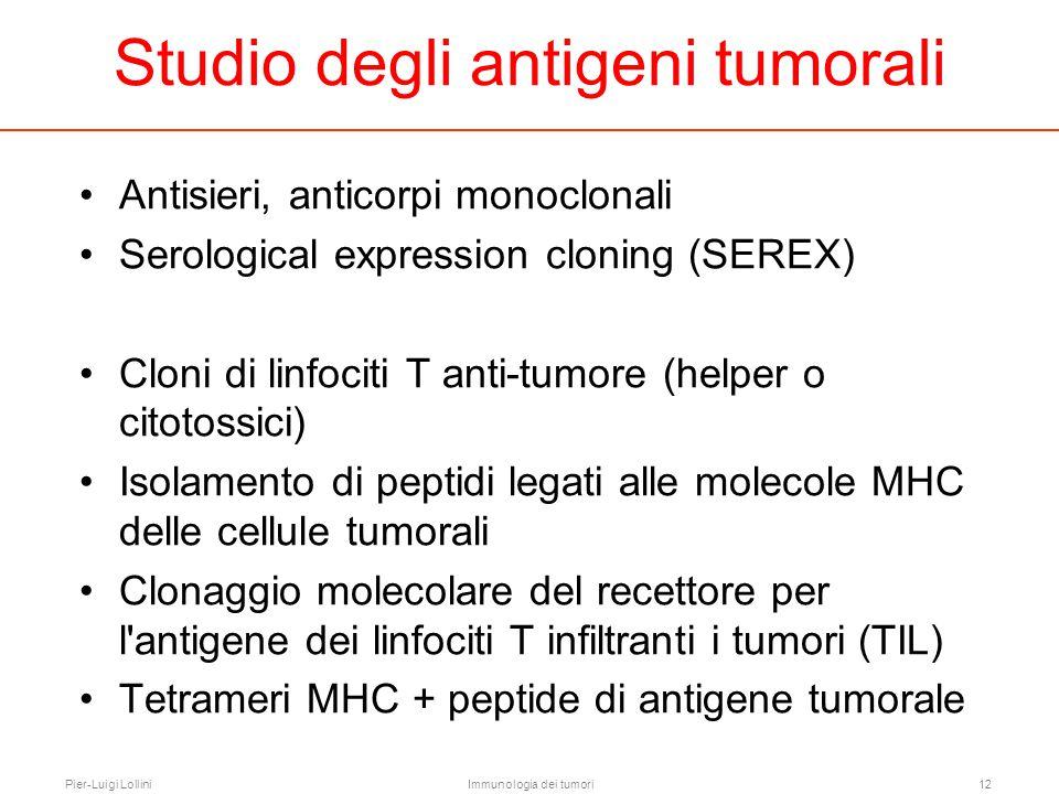 Pier-Luigi LolliniImmunologia dei tumori12 Studio degli antigeni tumorali Antisieri, anticorpi monoclonali Serological expression cloning (SEREX) Clon