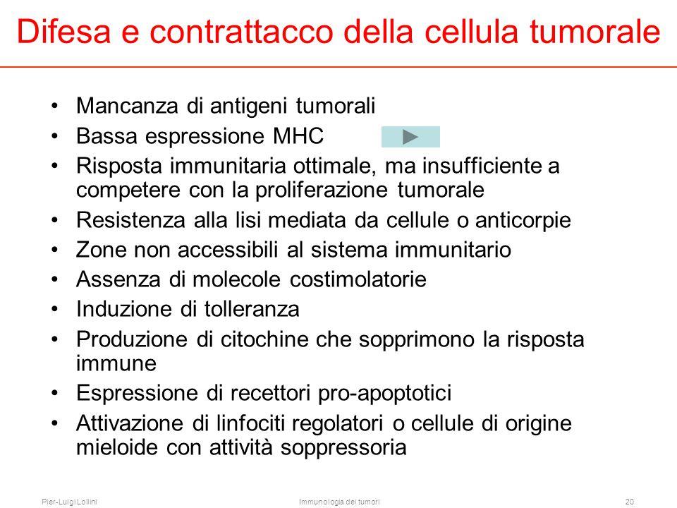 Pier-Luigi LolliniImmunologia dei tumori20 Mancanza di antigeni tumorali Bassa espressione MHC Risposta immunitaria ottimale, ma insufficiente a compe