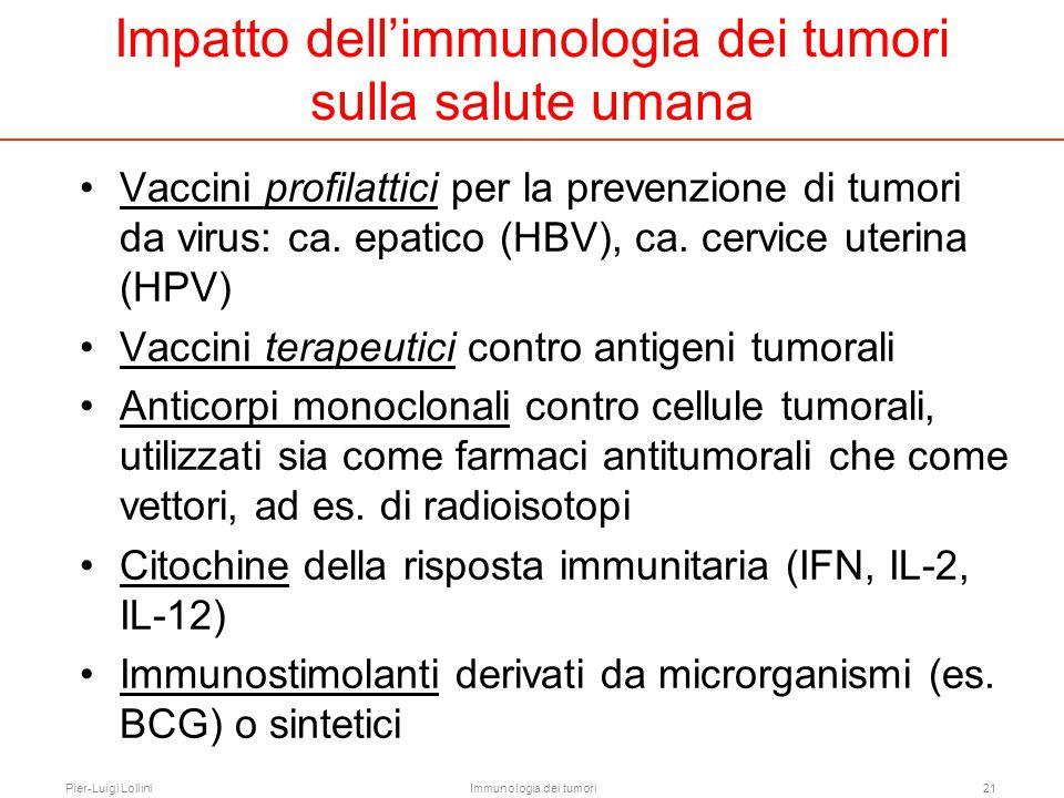 Pier-Luigi LolliniImmunologia dei tumori21 Vaccini profilattici per la prevenzione di tumori da virus: ca. epatico (HBV), ca. cervice uterina (HPV) Va