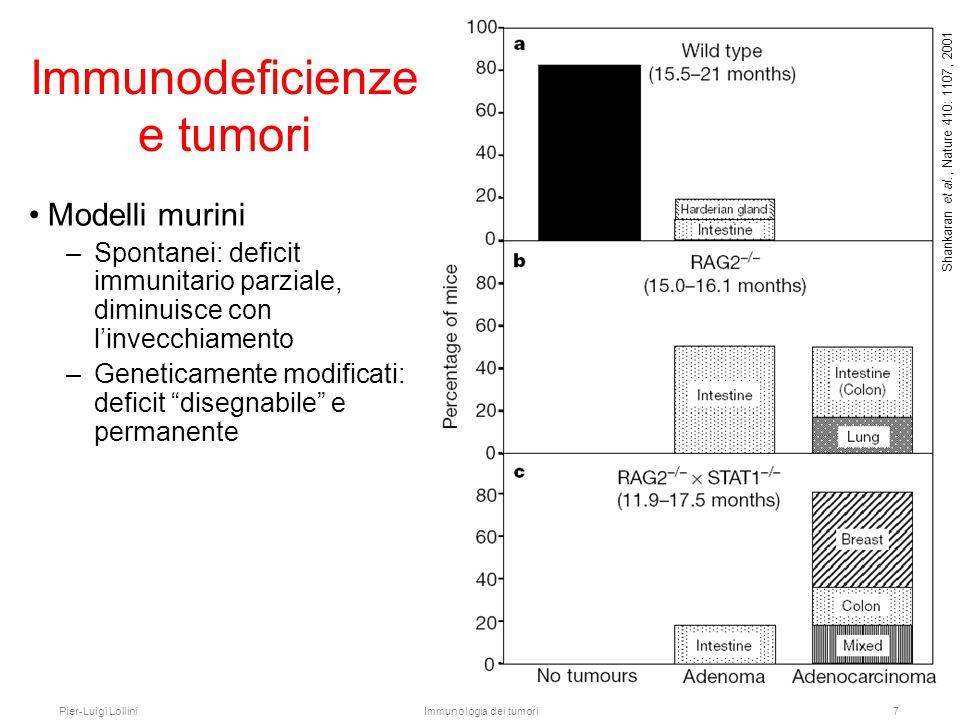 Pier-Luigi LolliniImmunologia dei tumori8 Immunodeficienze e tumori Immunodeficienze umane: –Congenite: mortalità giovanile nelle forme severe (SCID) –Acquisite, es.