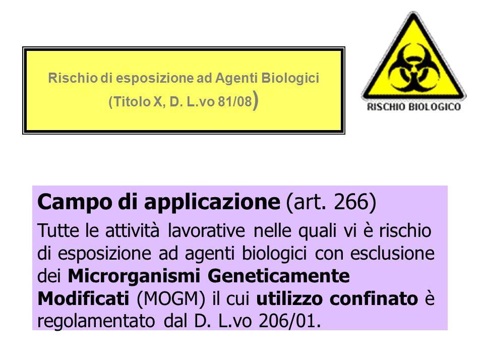 Rischio di esposizione ad Agenti Biologici (Titolo X, D. L.vo 81/08 ) Campo di applicazione (art. 266) Tutte le attività lavorative nelle quali vi è r