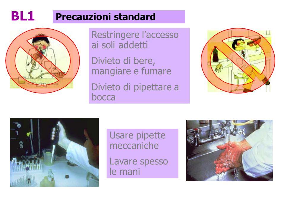 Restringere l'accesso ai soli addetti Divieto di bere, mangiare e fumare Divieto di pipettare a bocca BL1 Precauzioni standard Usare pipette meccanich