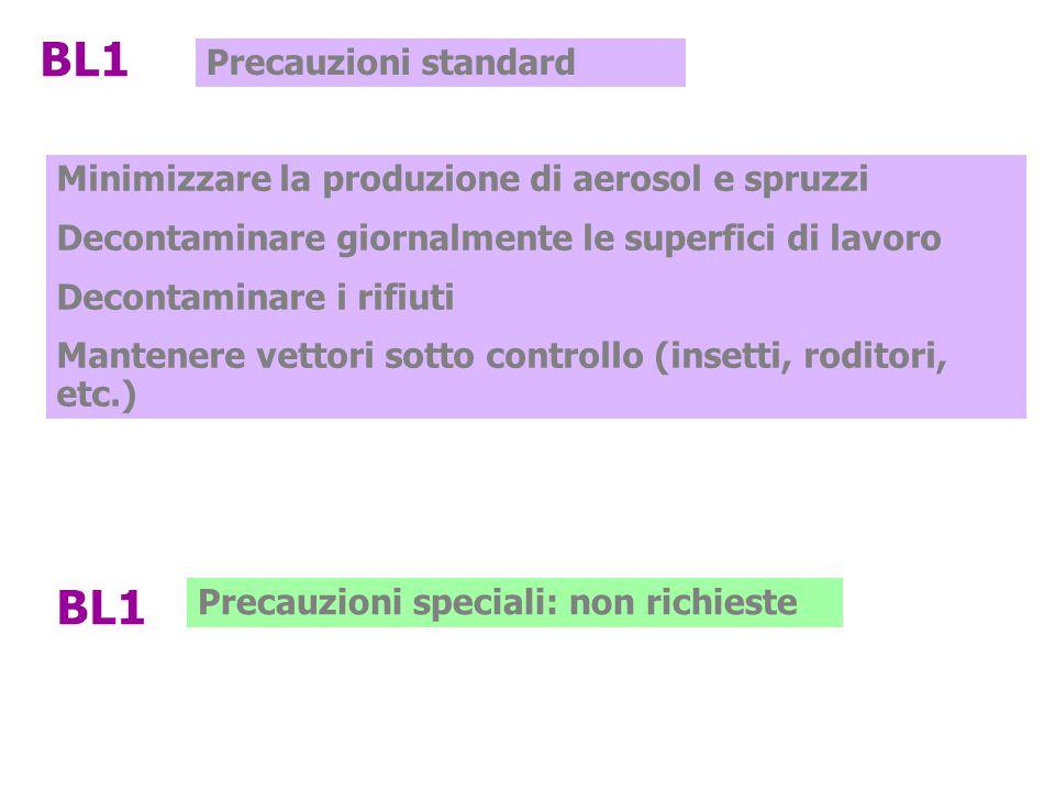 BL1 Precauzioni standard Minimizzare la produzione di aerosol e spruzzi Decontaminare giornalmente le superfici di lavoro Decontaminare i rifiuti Mant