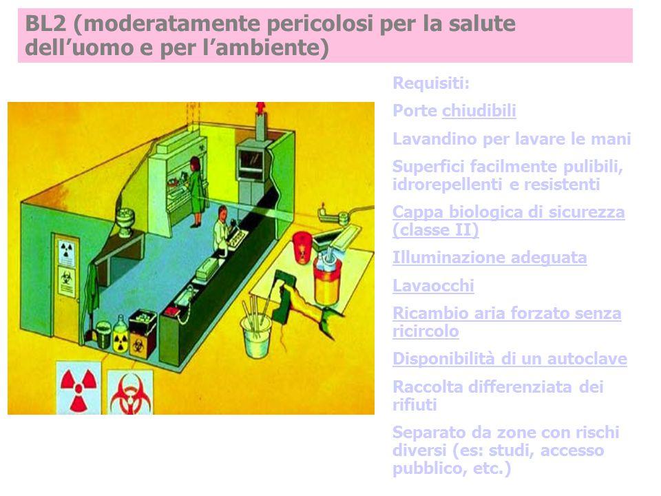 BL2 (moderatamente pericolosi per la salute dell'uomo e per l'ambiente) Requisiti: Porte chiudibili Lavandino per lavare le mani Superfici facilmente