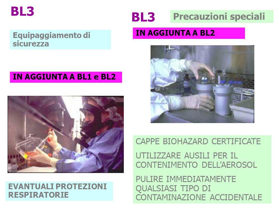 BL3 Equipaggiamento di sicurezza IN AGGIUNTA A BL1 e BL2 EVANTUALI PROTEZIONI RESPIRATORIE CAPPE BIOHAZARD CERTIFICATE UTILIZZARE AUSILI PER IL CONTEN