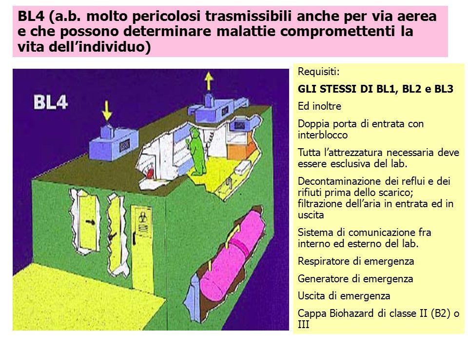 BL4 (a.b. molto pericolosi trasmissibili anche per via aerea e che possono determinare malattie compromettenti la vita dell'individuo) Requisiti: GLI