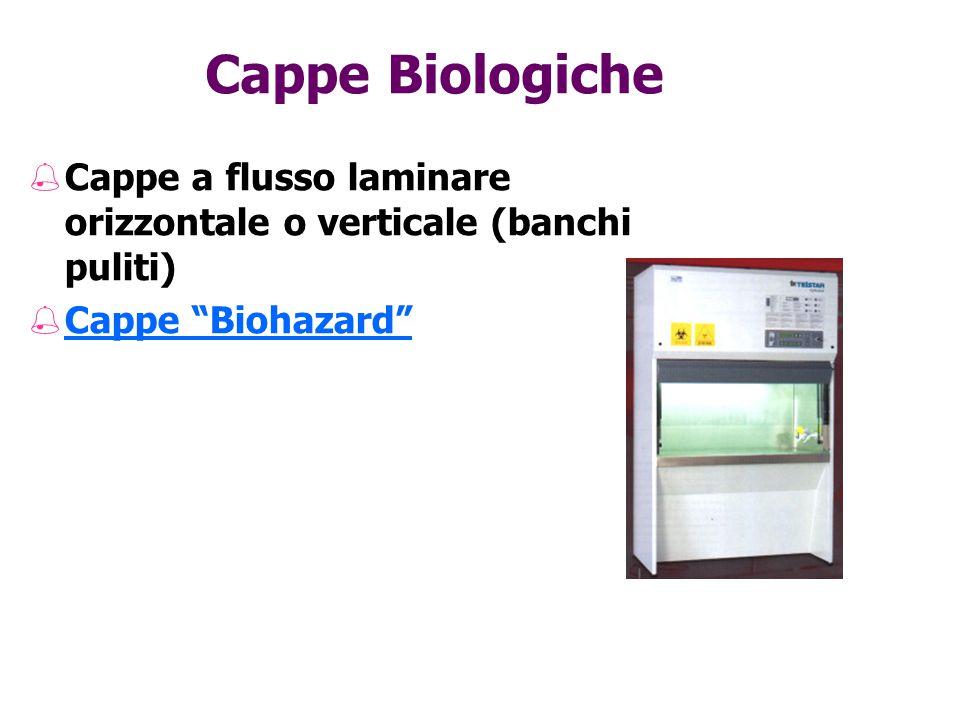 """Cappe Biologiche %Cappe a flusso laminare orizzontale o verticale (banchi puliti) %Cappe """"Biohazard"""""""